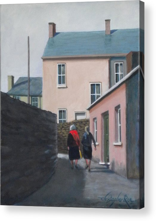 Landscape Acrylic Print featuring the painting Off To The Shops by Christopher Roe