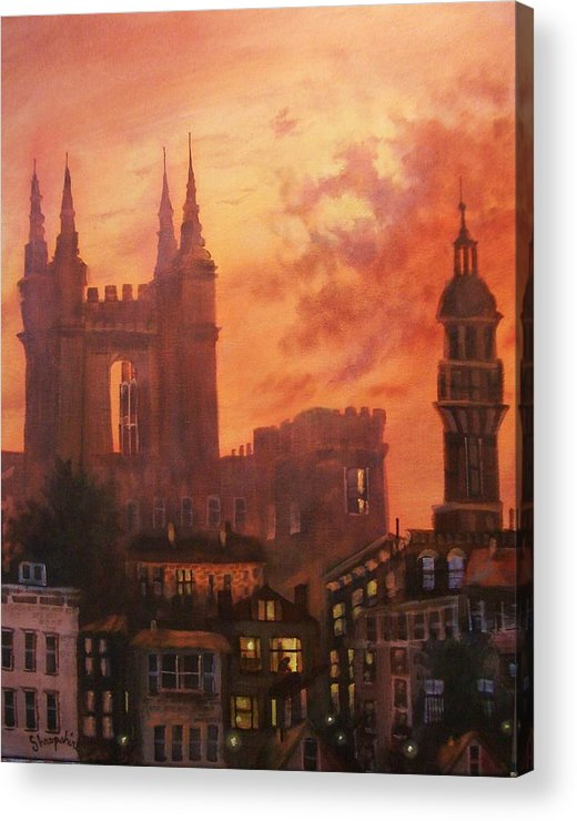 Church Acrylic Print featuring the painting Spires In Silhouette by Tom Shropshire