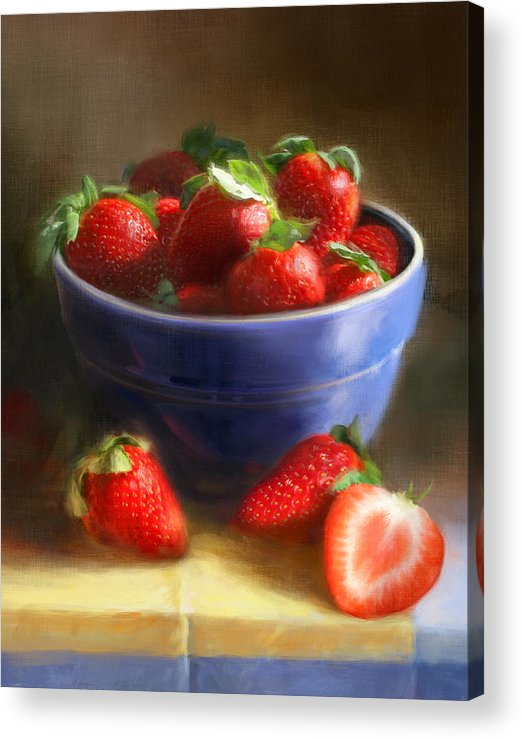 Strawberry Acrylic Print featuring the painting Strawberries On Yellow And Blue by Robert Papp