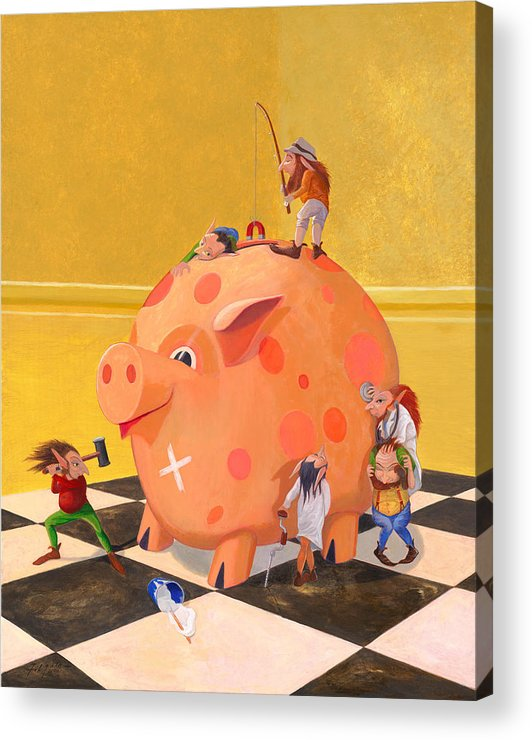 Leonard Filgate Acrylic Print featuring the painting The Bank Robbery by Leonard Filgate