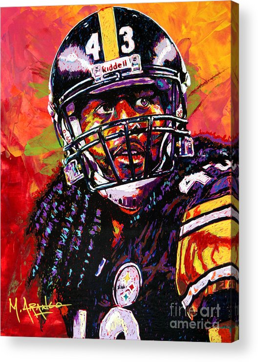 Troy Acrylic Print featuring the painting Troy Polamalu by Maria Arango