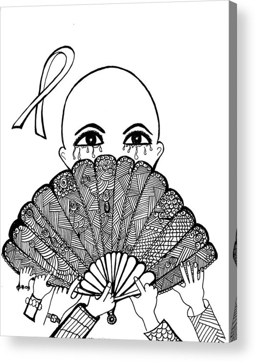 Cancer Survivor Acrylic Print featuring the drawing Chemo by Margie Causby