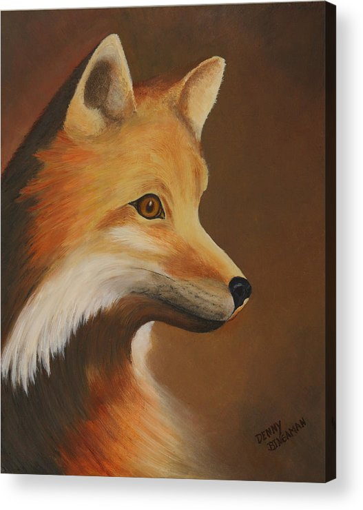 Fox Acrylic Print featuring the painting Foxy by Denny Bingaman