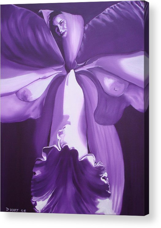 Erotic Acrylic Print featuring the painting Blossom by Davinia Hart