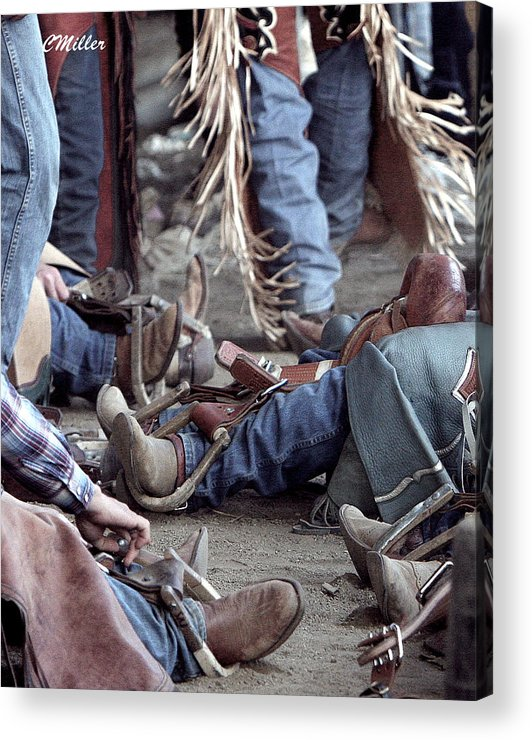 Rodeo Acrylic Print featuring the photograph Bronc Rider Row.. by Carol Miller