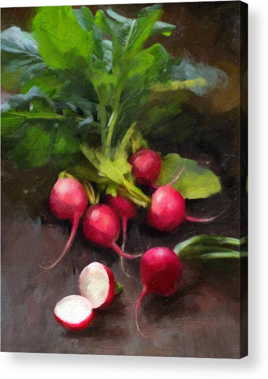 Radishes Acrylic Print featuring the painting Fresh Radishes by Robert Papp
