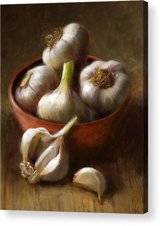 Garlic Acrylic Print featuring the painting Garlic by Robert Papp