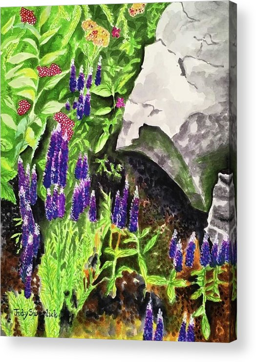Landscape Acrylic Print featuring the painting Hidden Treasures by Judy Swerlick