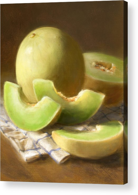 Honeydew Acrylic Print featuring the painting Honeydew Melons by Robert Papp