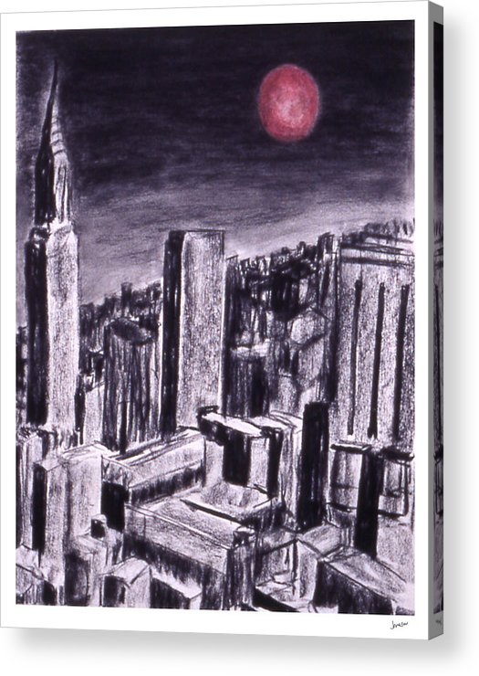 Night Sky Acrylic Print featuring the drawing Moon Over Manhattan by Gary Jameson