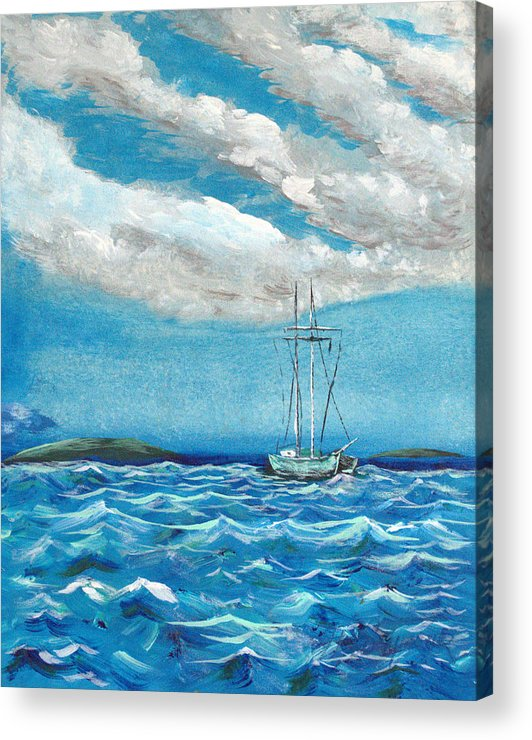 Impressionism Acrylic Print featuring the painting Moored In The Bay by J R Seymour