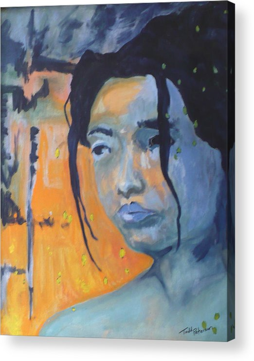Woman Acrylic Print featuring the painting My Soul Wanders A Far Away Land by Todd Peterson