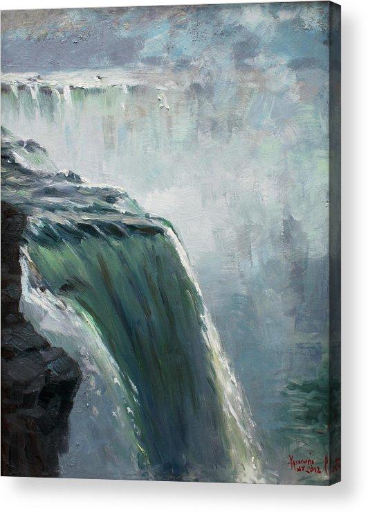 Niagara Falls Ny Acrylic Print featuring the painting Niagara Falls Ny by Ylli Haruni