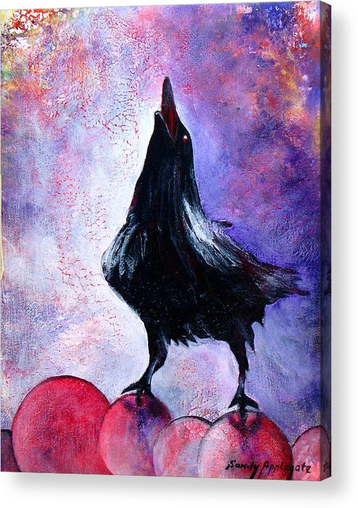 Raven Acrylic Print featuring the painting Prophet by Sandy Applegate
