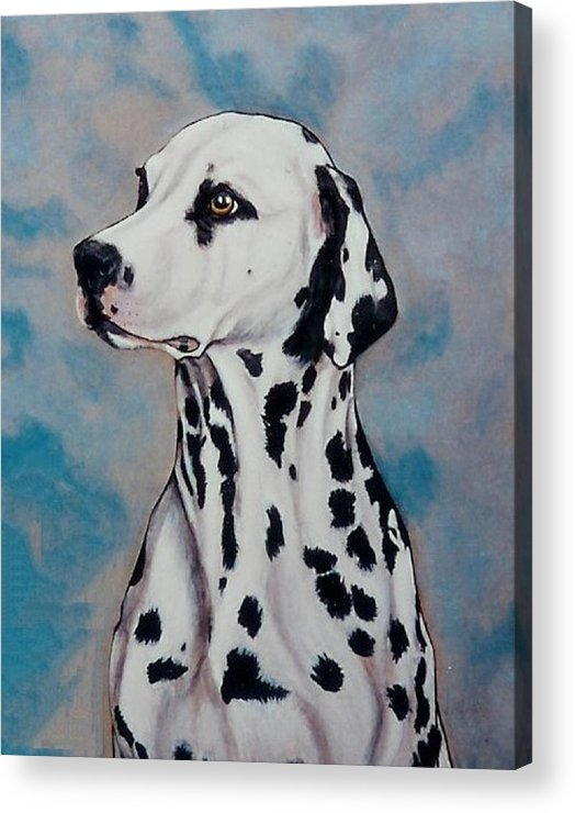 Dogs Acrylic Print featuring the painting Spotty by Lilly King