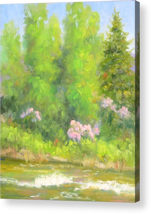 Landscape Acrylic Print featuring the painting Spring On Gore Creek by Bunny Oliver
