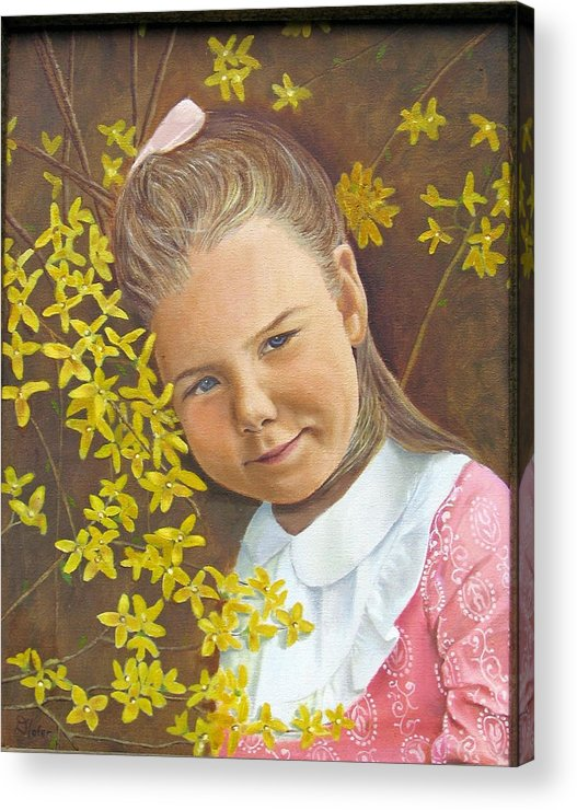 Portraits Acrylic Print featuring the painting Spring Peach by Donald Hofer