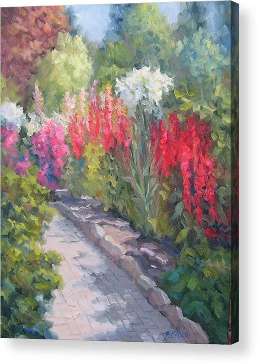 Garden Acrylic Print featuring the painting Sunlit Garden by Bunny Oliver