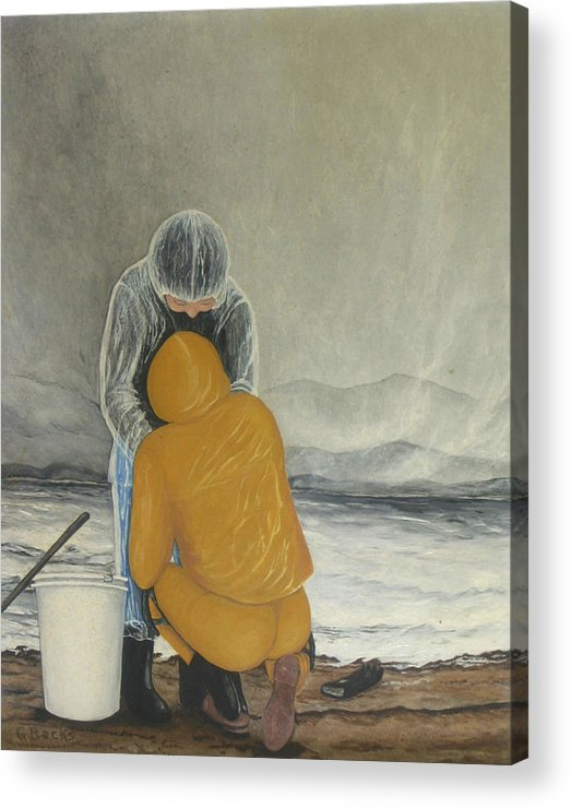 Figurative Acrylic Print featuring the painting The Clamdigger by Georgette Backs