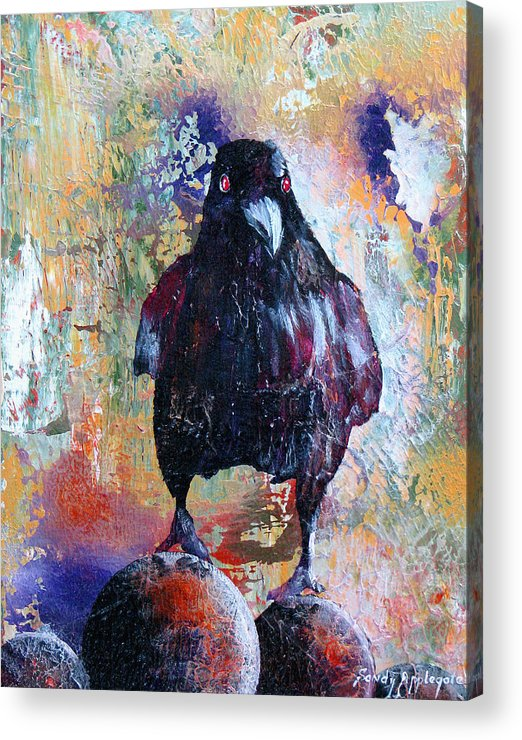 Raven Acrylic Print featuring the painting This Ebony Bird by Sandy Applegate