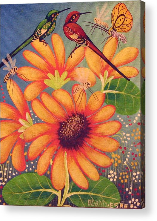 Haitian Acrylic Print featuring the painting Twin Birds by Aland Estim