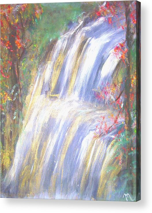 Landscape Acrylic Print featuring the painting Waterfall Of El Dorado by Michela Akers