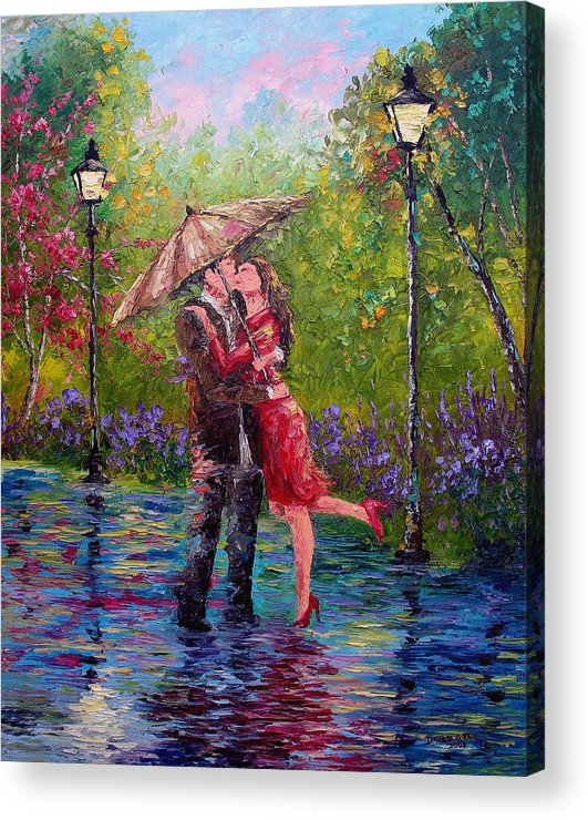 Kiss Acrylic Print featuring the painting Wet Kiss by David G Paul