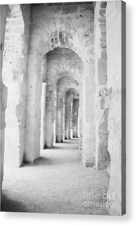 Tunisia Acrylic Print featuring the photograph Arched Walkway At Entrance Of The Old Roman Colloseum At El Jem Tunisia by Joe Fox