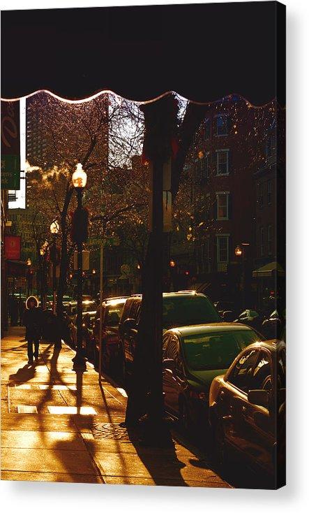 Boston Acrylic Print featuring the photograph Brisk Walk On Hanover Street - Boston by Joann Vitali
