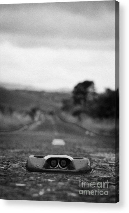 Ulster Acrylic Print featuring the photograph Cats Eye In The Middle Of A Mountain Road In The Mourne Mountains County Down Northern Ireland by Joe Fox
