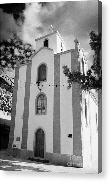 Europe Acrylic Print featuring the photograph front of the church in Los Banquitos Tenerife Canary Islands Spain by Joe Fox