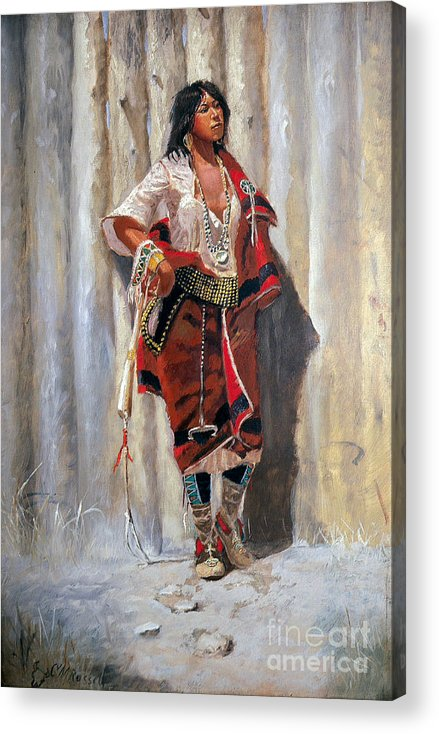 U.s.pd: Reproduction Acrylic Print featuring the painting Indian Maid At Stockade By Charles Marion Russell by Pg Reproductions