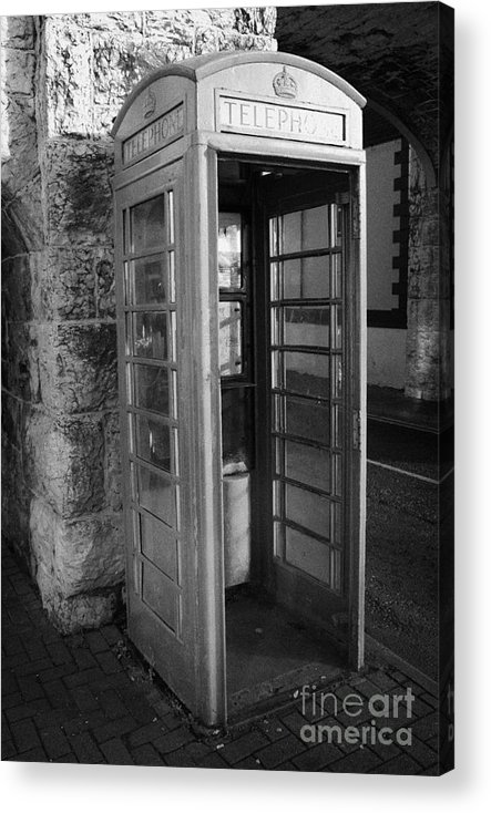 Europe Acrylic Print featuring the photograph old style red telephone box with missing door in Carnlough county antrim by Joe Fox