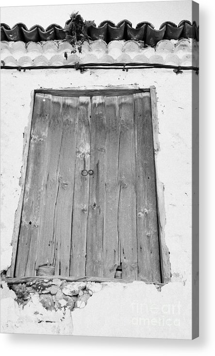 Europe Acrylic Print featuring the photograph old weathered brown wooden door double window opening on abandoned house with cracked stucco yellow walls in Tacoronte Tenerife Canary Islands Spain by Joe Fox