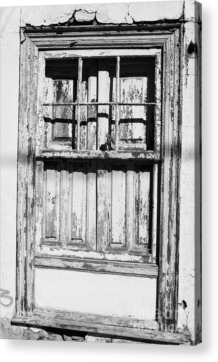 Europe Acrylic Print featuring the photograph old weathered green painted wooden window frame of abandoned house with cracked stucco walls in Tacoronte Tenerife Canary Islands Spain by Joe Fox