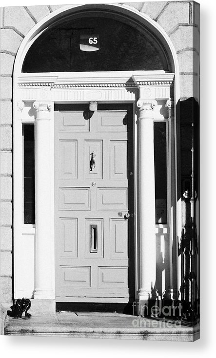 Dublin Acrylic Print featuring the photograph Red Georgian Door With Brass Letterbox Door Knob And Knocker In Dublin by Joe Fox