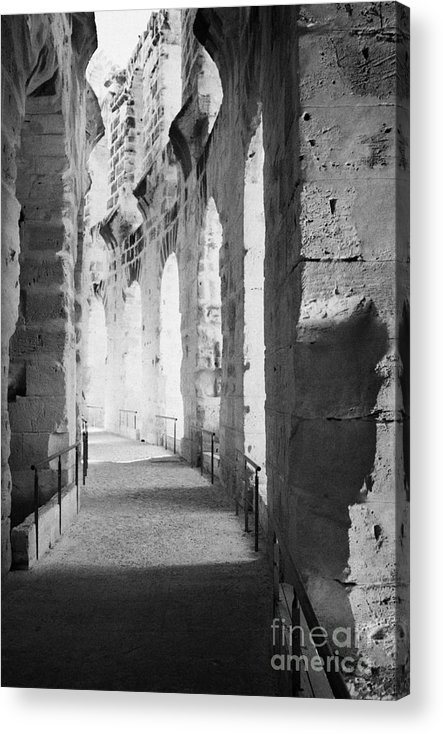 Tunisia Acrylic Print featuring the photograph Upper Walkway With Arches Of The Old Roman Colloseum At El Jem Tunisia by Joe Fox