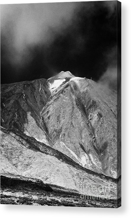 Europe Acrylic Print featuring the photograph vertical desert and brushland surrounding el teide volcanic mountain parque nacional del teide Tenerife Canary Islands Spain third largest volcano in the world at 3715m by Joe Fox