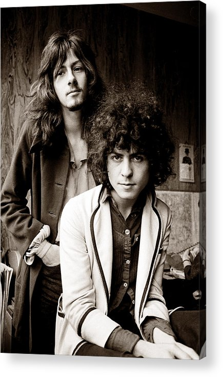 T Rex Acrylic Print featuring the photograph Marc Bolan T Rex 1969 Sepia by Chris Walter
