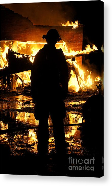 Fireman Acrylic Print featuring the photograph The Fireman by Benanne Stiens