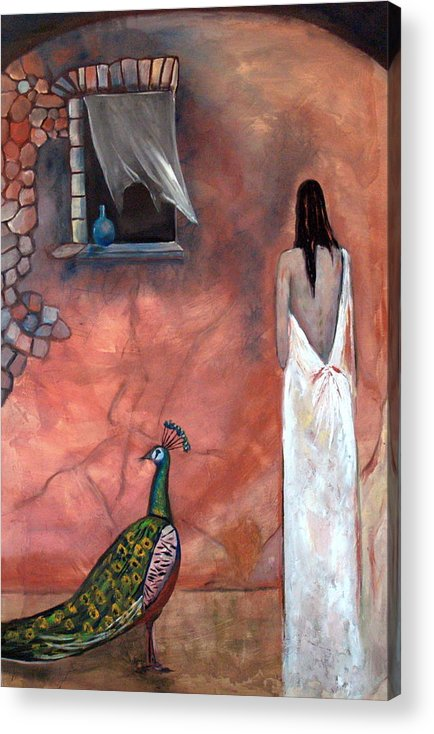 Woman Peacock Window Old Wall Red Orange Acrylic Print featuring the painting Abeyance by Niki Sands