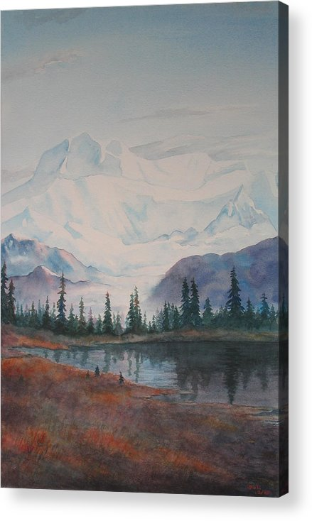 Alaska Acrylic Print featuring the painting Alaksa Mountain And Lake by Debbie Homewood