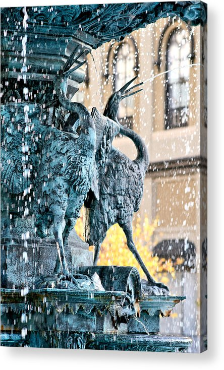 Fountain Acrylic Print featuring the photograph Birds Of A Fountain by Greg Sharpe