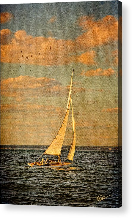Sailboat Acrylic Print featuring the mixed media Day Sail by Michael Petrizzo