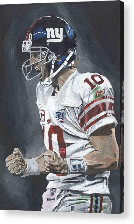 Eli Manning New York Giants Super Bowl Mvp Quarterback Nfl David Courson Sports Art Football Acrylic Print featuring the painting Eli Manning Super Bowl Mvp by David Courson