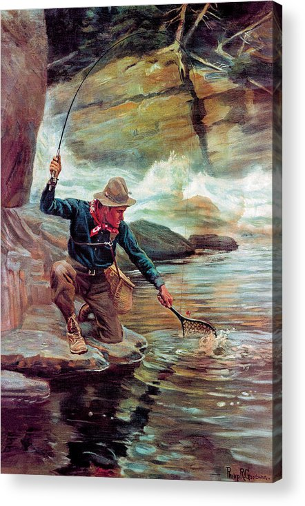 Fishing Acrylic Print featuring the painting Fisherman By Stream by Phillip R Goodwin