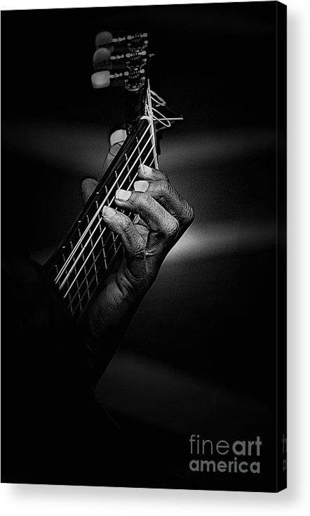 Guitar Acrylic Print featuring the photograph Hand Of A Guitarist In Monochrome by Sheila Smart Fine Art Photography