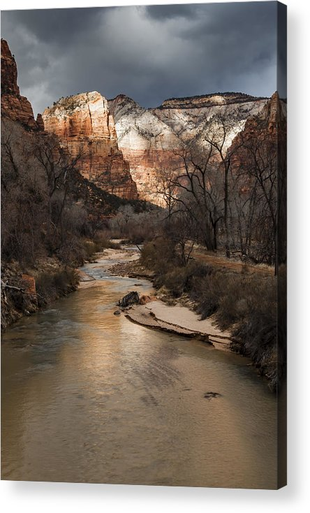 Zion Acrylic Print featuring the photograph Majestic Mountains-zion by Rob Travis