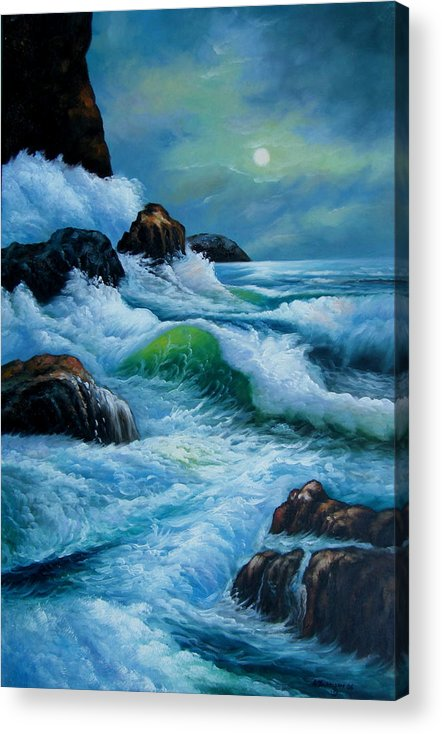 Seascape Acrylic Print featuring the painting Moody Shores by Imagine Art Works Studio