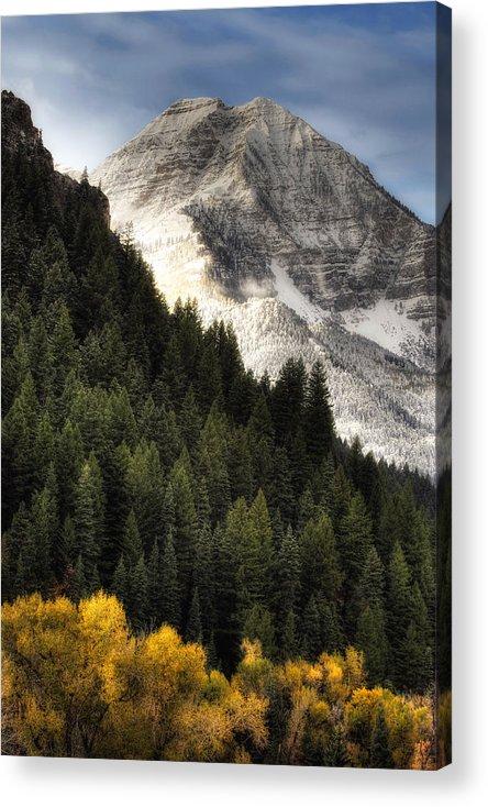 Mountain; Peak; Peaks; Mount Timpanogos Wilderness; Wasatch Mountains; Mt; Mts; Autumn; Fall; Winter Acrylic Print featuring the photograph Mount Timpanogos 1 by Douglas Pulsipher